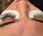 A client receiving one of our eyelash treatments.
